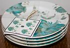 222 FIFTH ELIZA TEAL SET OF 4 APPETIEZER DESSERT PLATES NEW