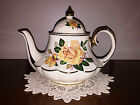 VINTAGE SADLER TEAPOT BELL BOTTOM CAROUSEL YELLOW ROSES WITH GOLD GILT ENGLAND