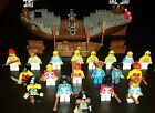 Lot Vintage Lego Pirate Ship 19 Minifg Parrots Monkey Chests Flags Sword Cannons