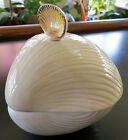 Vtg Fitz & Floyd OCEANA Cream Color Covered Trinket Condiment Dish 3D Sea Shells