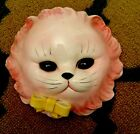 Vintage Ceramic Cat Kitty Wall Pocket Planter anthropomorphic Pink PY Lefton