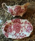 Johnson Bros English Chippendale Rose Pink Gravy Boat w/ Underplate