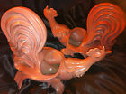 50s William Hirsch California Pink Crackle Art Pottery Fighting Roosters Planter