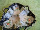 Beautiful Vintage Antique Candy Dish Relish 3 Compartment Gold Leaf Blue Pink