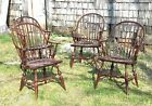 VINTAGE SET OF 4 CONTINUOUS ARM WINDSOR ARMCHAIRS-ER.BUCK-SOLID MAPLE-CIRCA-1950