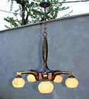 Antique French Art Deco heavy bronze brass wood chandelier ceiling light 1930s