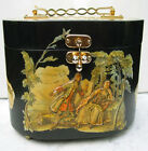 Vintage handmade Black wooden Musical pattern 1960's decopage sewing box purse