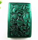 New Beautiful lawn green cat eye hand carved Fish play lotus pendant bead V7249