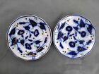 2 Antique  FLOW BLUE GAUDY IRONSTONE WELSH, MORNING GLORY STRAWBERRIES Plates