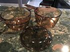 CORNING WARE --VISION BROWN AMBER COOKWARE GLASS 3 piece set- Gently used