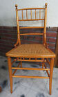 Vintage Wood Bamboo Style Caned Curved Solid Wood Chair