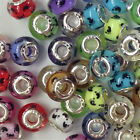 20x Silver Core Footprint Silder Spcacer Resin Bead Fit European Charms Bracelet