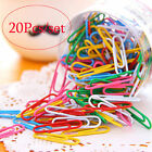 1 Set 20Pcs 28mm Colorful Paper Clips  Pins Vinyl Coated Office Stationery New