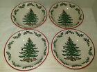 SPODE LOT OF 4 CHRISTMES TREE HOLLY RED TRIM 6.25