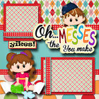 THE MESSES YOU MAKE toddler baby 2 premade scrapbook pages paper piecing CHERRY