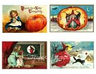 Fabric Block 4 Vintage Halloween Postcard Images Printed onto Fabric Witch