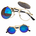 Cool Flip Up Lens Steampunk Vintage Retro Style Round Sunglasses Black Gold New