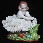 VTG Sitzendorf Germany Porcelain Dresden Lace Figurine Girl Holding Lilies #99