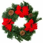 NEW Christmas Wreath Realistic Red Poinsettia Natural pine cone Door decoration