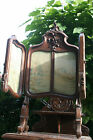 Exclusive  FRench 19thc table window screen embroidery/wood carved black