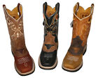 Children youth sizes cowboy boots leather square toe rodeo StylePR811J