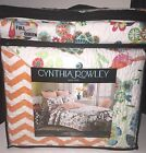 CYNTHIA ROWLEY 3pc QUEEN/FULL Quilt SET MULTI-COLOR FLORAL ZIGZAG REVERSE ORANGE
