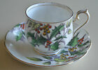 VINTAGE ROYAL ALBERT BONE CHINA HOLLY CUP AND SAUCER MADE IN ENGLAND GOLD TRIM
