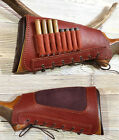 Real Leather Rifle Ammo Cartridge Buttstock Holder Cover Cheek Rest Padded