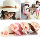 Baby Toddlers Infants Girls Flower Summer Straw Sun Beach Hat Cap 2-7Y Gifts FN