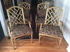 Faux Bamboo Dining Chairs in Gold Hollywood Regency Chinese Chippendale Set of 4