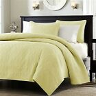 Full / Queen size Quilted Coverlet Set with 2 Shams in Yellow Microsuede Fabric