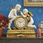 Antiqued Cherub Mantel Desktop Clock French Empire Rococo Style Brass Finish New