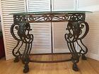 Vintage French Style Scrolling Wrought Iron Glass Top Hall Sofa Console Table