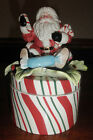 FITZ And FLOYD Candy Christmas Lidded Box Trinket Box/Candy Dish Ceramic NIB!