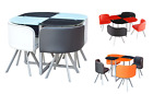 PALETTE GLASS DINING TABLE AND CHAIRS 4 FAUX LEATHER RED ORANGE BLACK WHITE