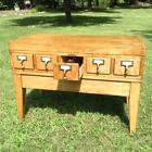 Vintage Library File Card Cabinet Re-Purpose Wine Rack Coffee Table 5 Drawer 33