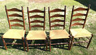 Set of 4 Ladder Back Chairs with Rush Style Woven Seats in Perfect Condition