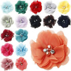 5 25 50PCS Satin Ribbon Rose Flower With pearl Appliques Sew Wedding Craft 60mm