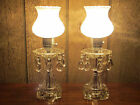 Pair Antique Vintage Crystal Glass Boudoir Parlor Table Lamp with Hanging Prisms