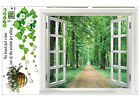 Huge Window 3D View Flowers Plant Wall Stickers Art Mural Decal DT