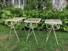 Three Vintage Nesting Garden Patio Tables. Wrought Iron with Mesh Tops.