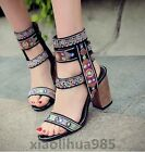 Vintage Women Summer Block Embroidery High Top Ethnic Trend Sandals Zipper Shoes