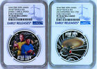 2 COIN Set 2016 Star Trek Captain James Spock USS Enterprise Silver 1 NGC PF70