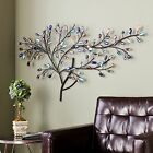 Metal Wall Hanging Sculpture Glass Tree Contemporary Art Abstract Home Accent
