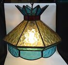 Vintage 70s Stained Glass Swag Lamp Hanging Light Blue Yellow And Red