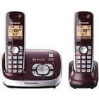 Panasonic KX-TG6521R DECT 6.0 Cordless Phone with Answering System, 2 Handsets