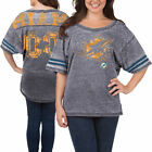 5th  Ocean Miami Dolphins Womens Gray Burnout Oversized T Shirt