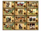 12 Rooster/Chicken Postcards Antiqued Vintage Hang Tags (66)