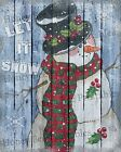 Primitive Distressed Christmas Winter Snowman Let it Snow Folk Art PRINT 8x10