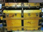 Refinished Flat Top Steamer Trunk Antique Chest With Key